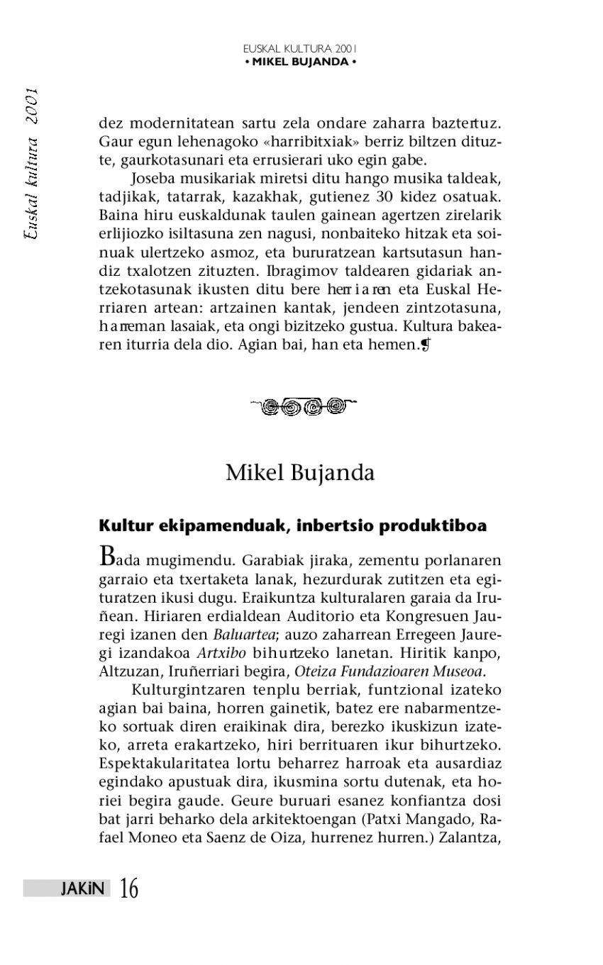 Euskal kultura 2001