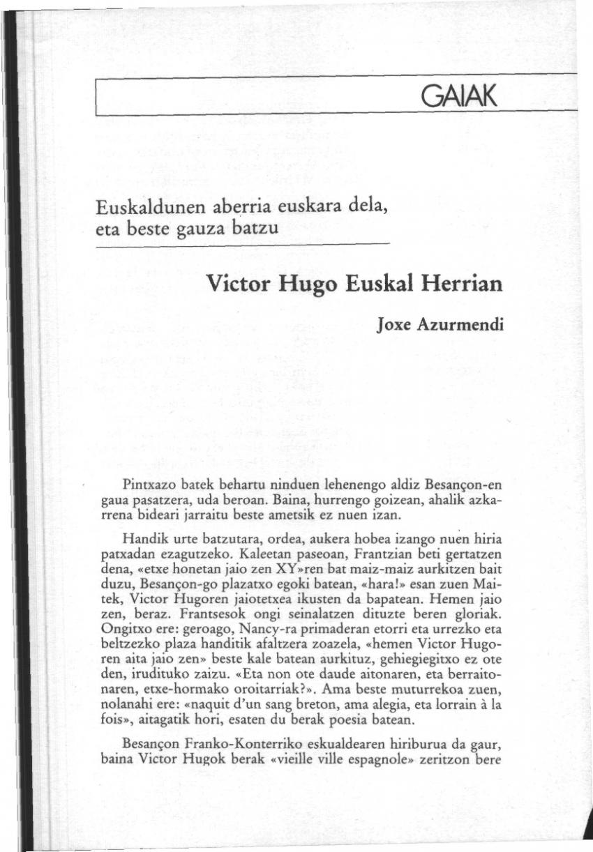 Victor Hugo Euskal Herrian