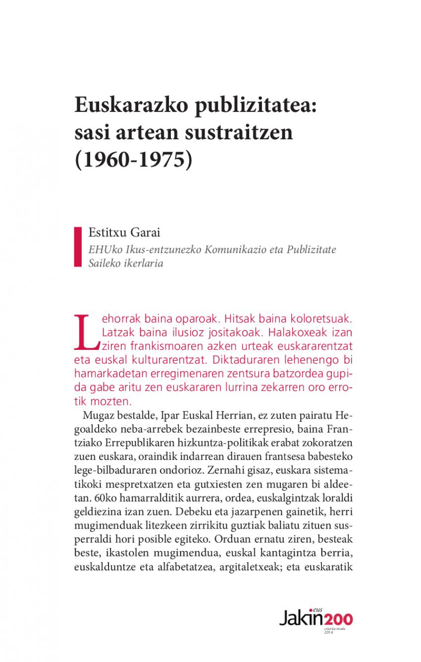 Euskarazko publizitatea: sasi artean sustraitzen (1960-1975)