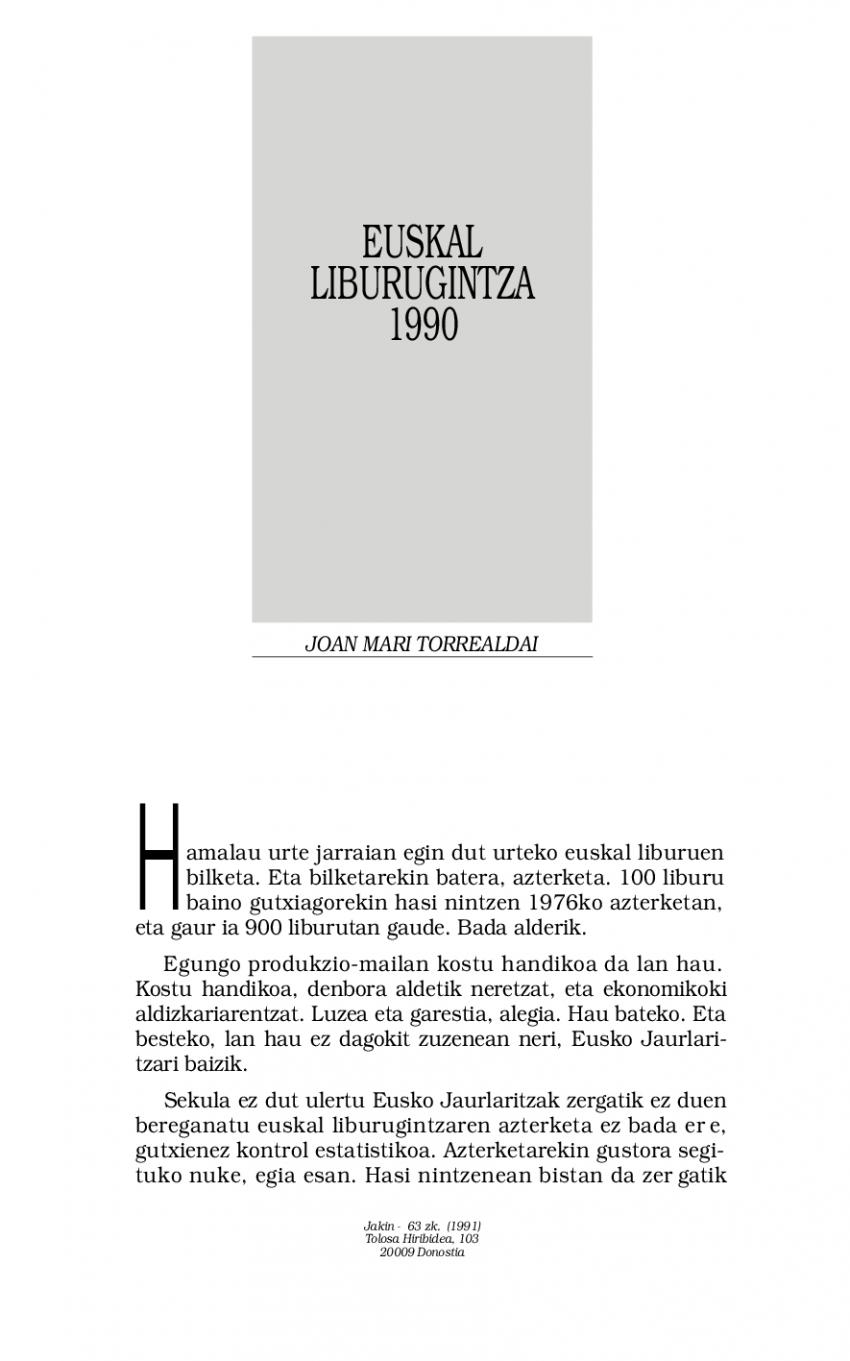 1990eko euskal liburugintza