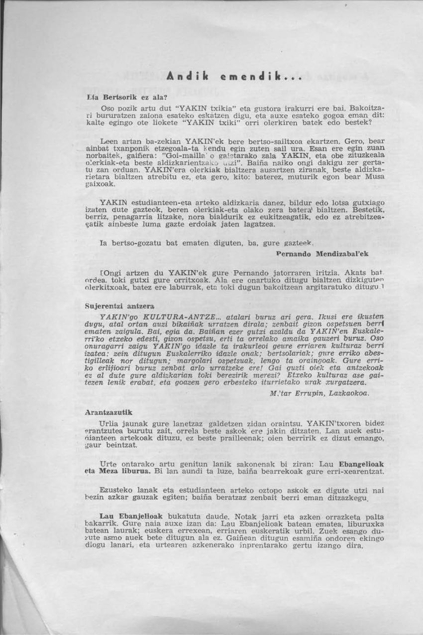 Pernando Mendizabal'ek emandako iritziari erantzuna