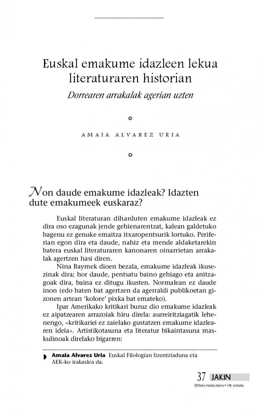 Euskal emakume idazleen lekua literaturaren historian. Dorrearen arrakalak agerian uzten