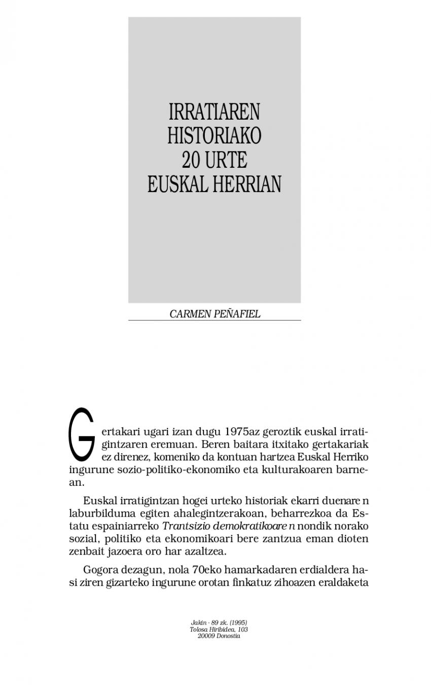 Irratiaren historiako 20 urte Euskal Herrian