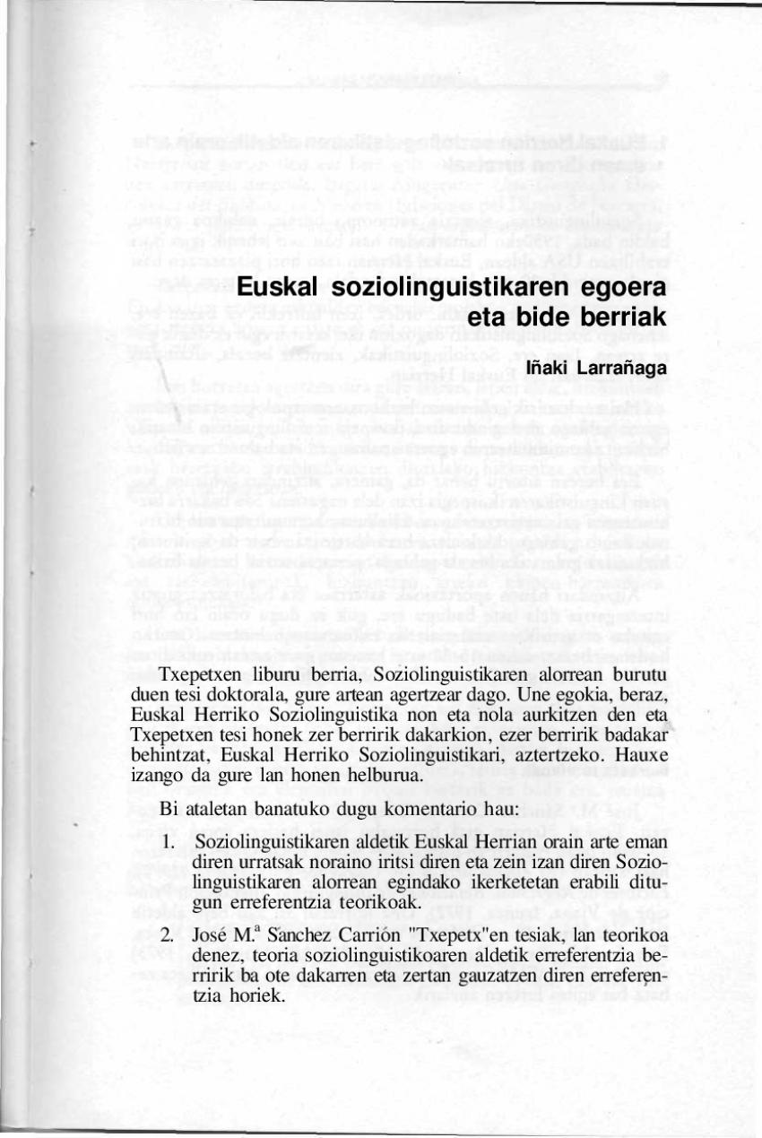 Euskal soziolinguistikaren egoera eta bide berriak