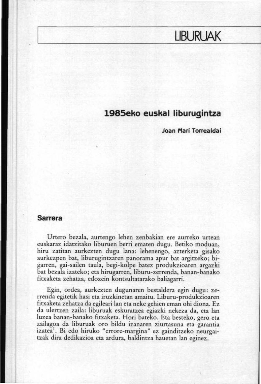 1985eko euskal liburugintza
