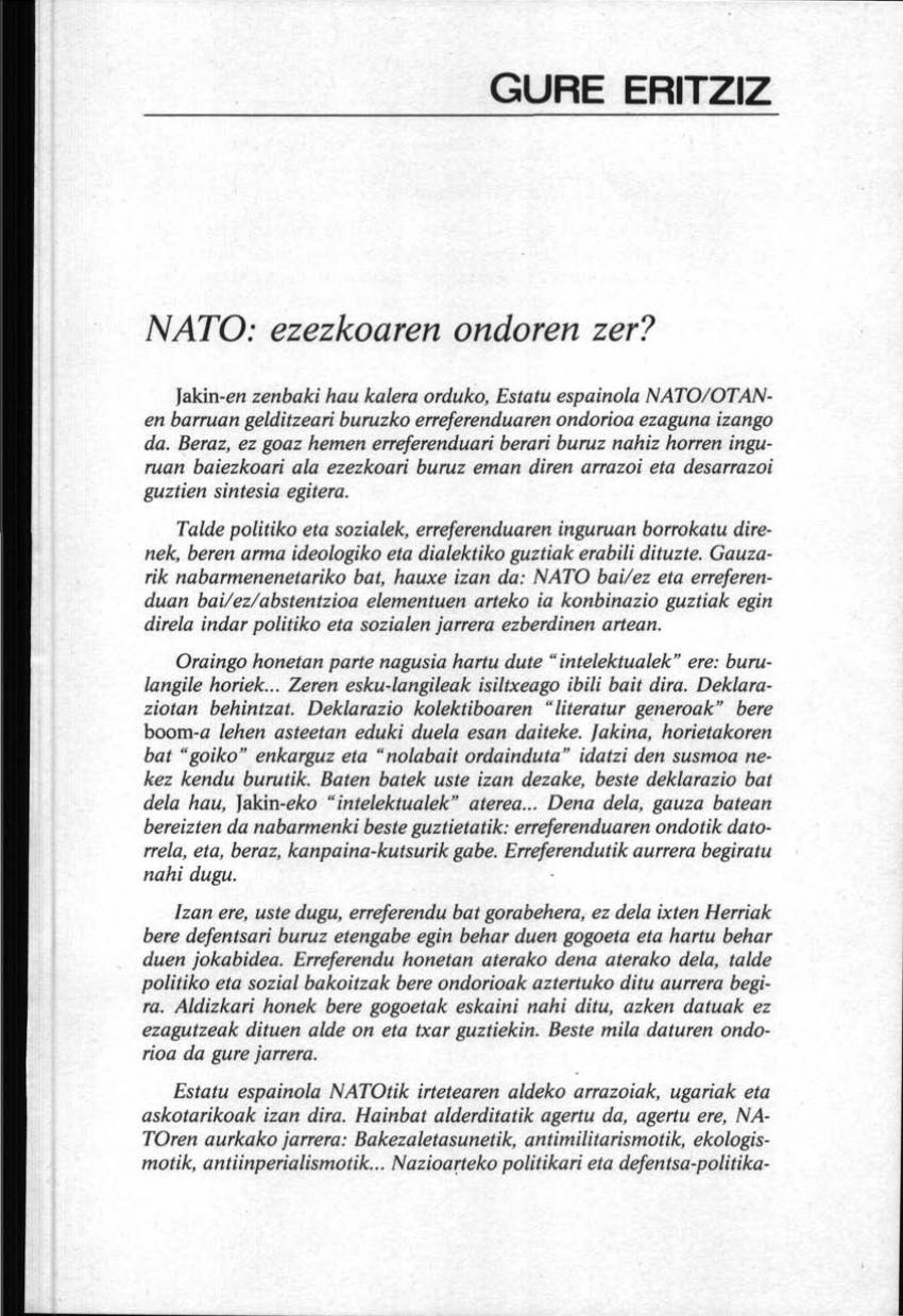 NATO: ezezkoaren ondoren zer?