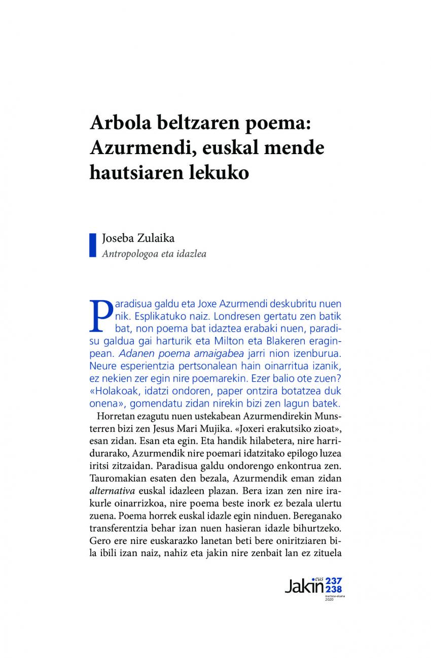 Arbola beltzaren poema: Azurmendi, euskal mende hautsiaren lekuko
