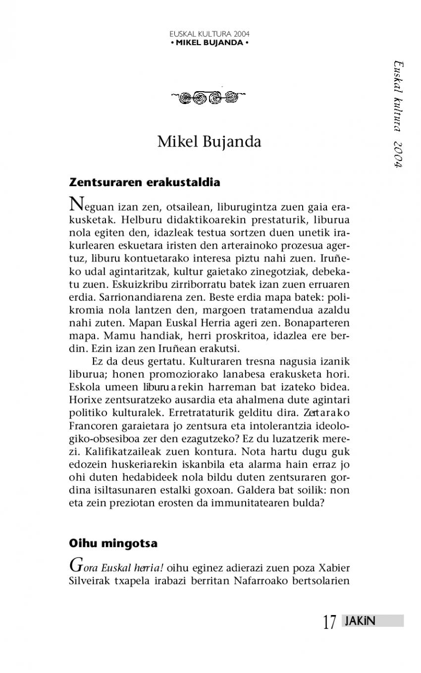 Euskal kultura 2004