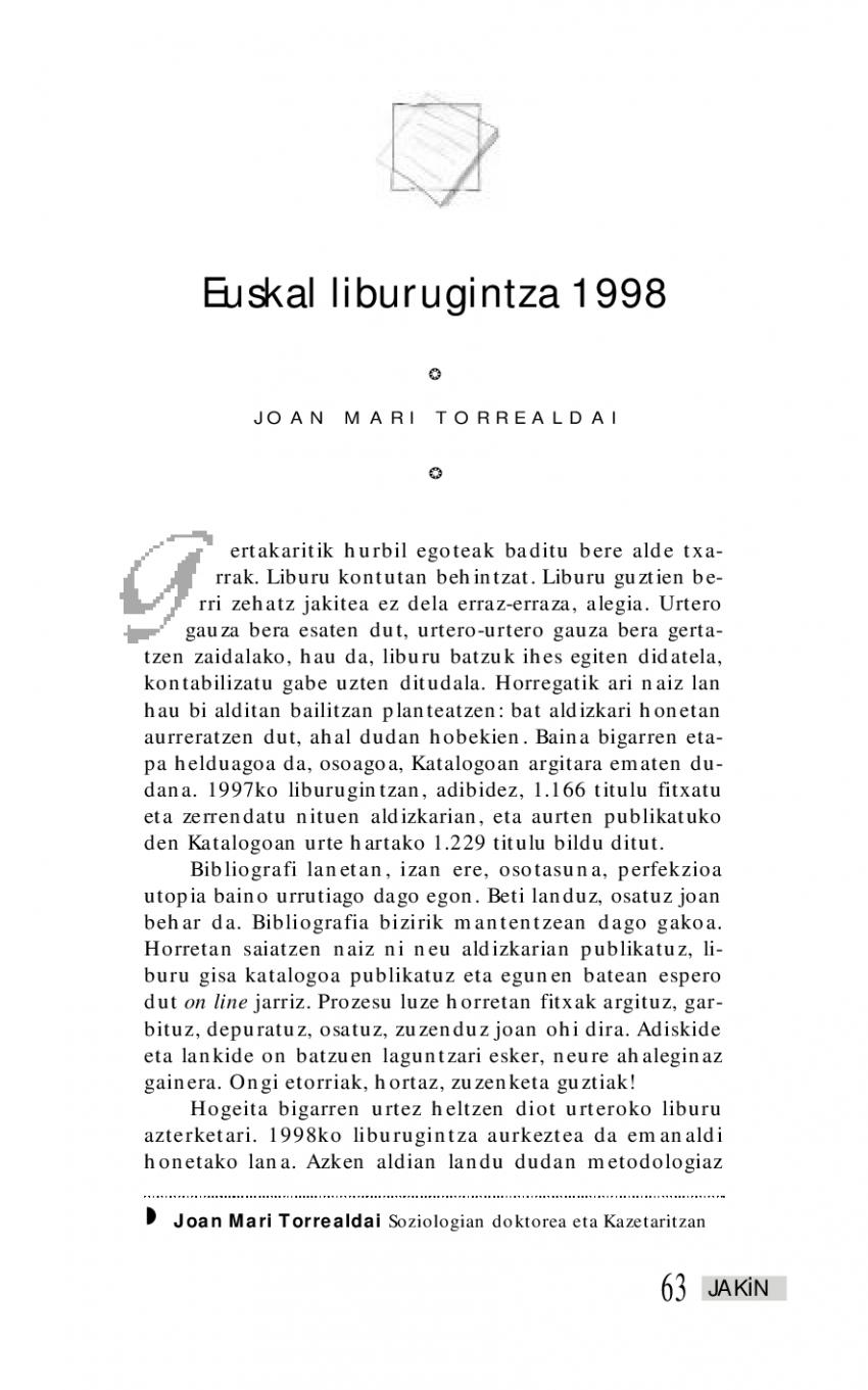 Euskal liburugintza 1998
