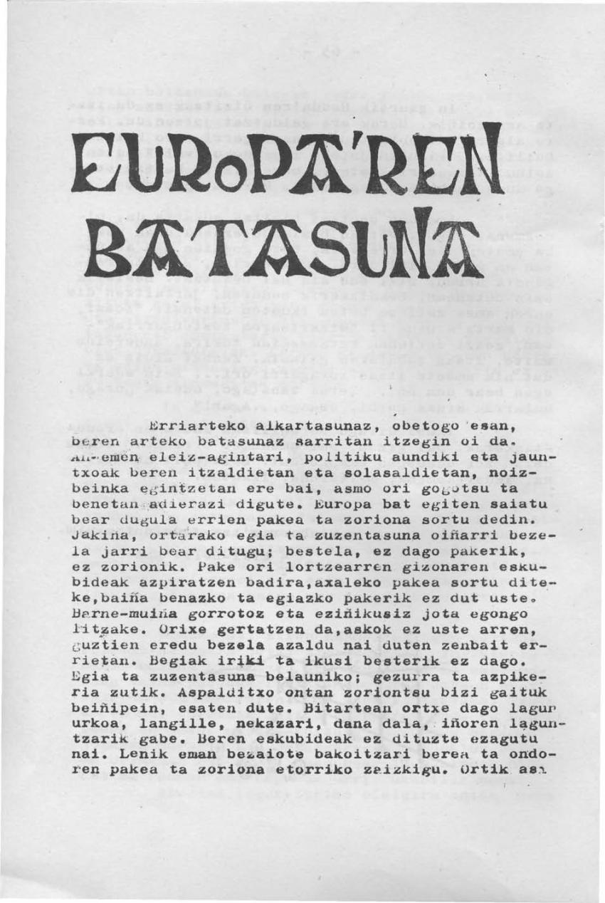 Europa'ren batasuna