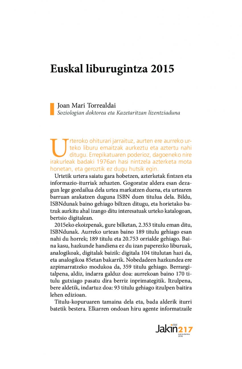 Euskal liburugintza 2015