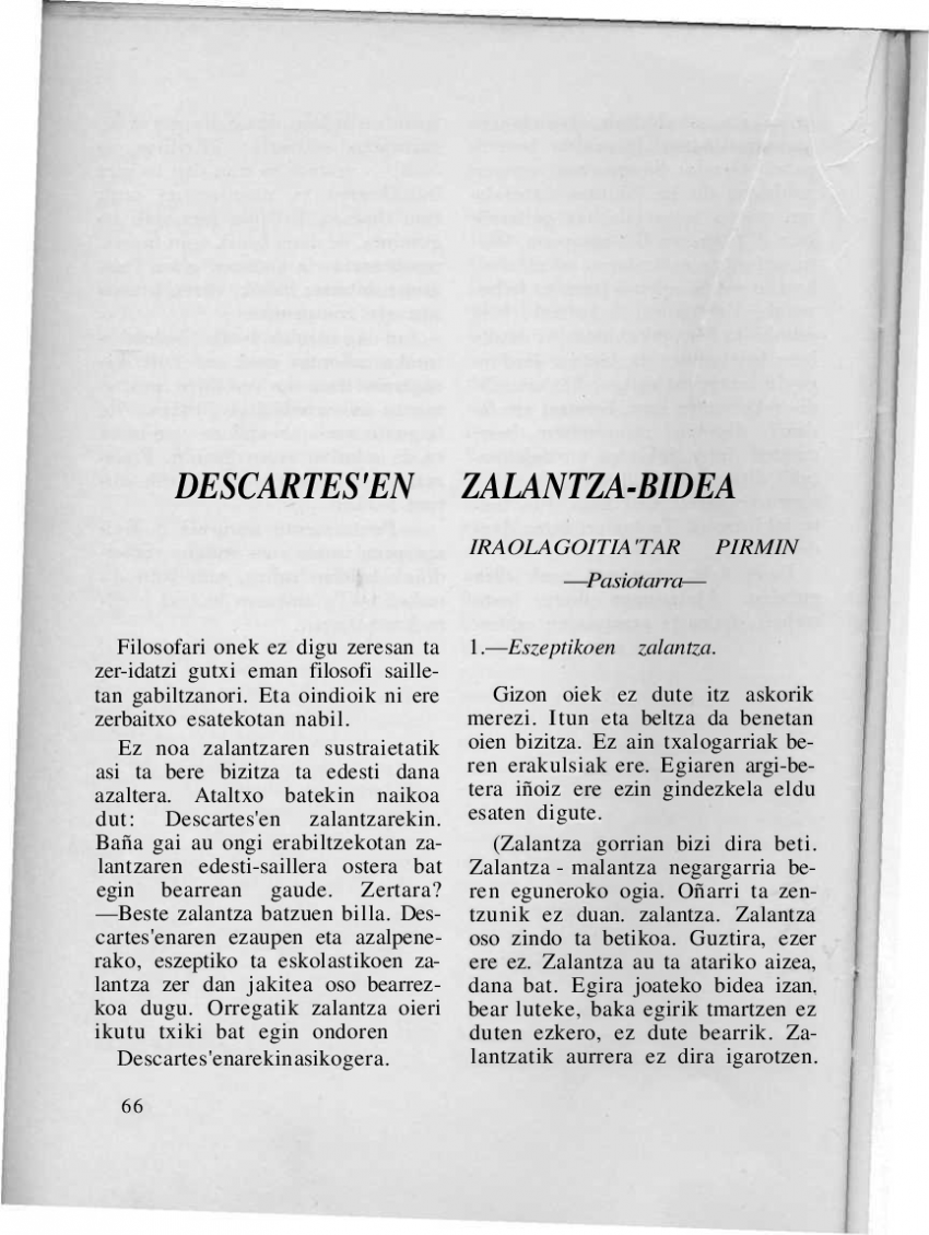 Descartes'en zalantza-bidea