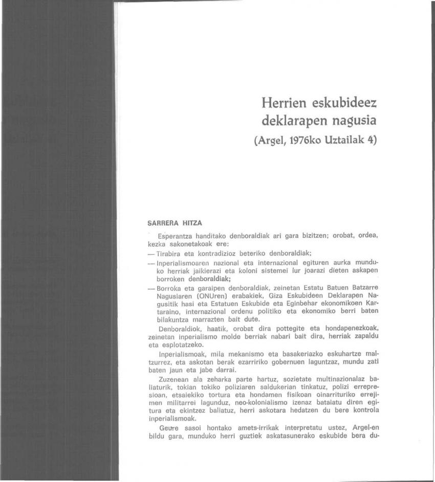 Argel-eko Agiria: Herrien eskubideez deklarapen nagusia (Argel, 1976ko Uztailak 4)