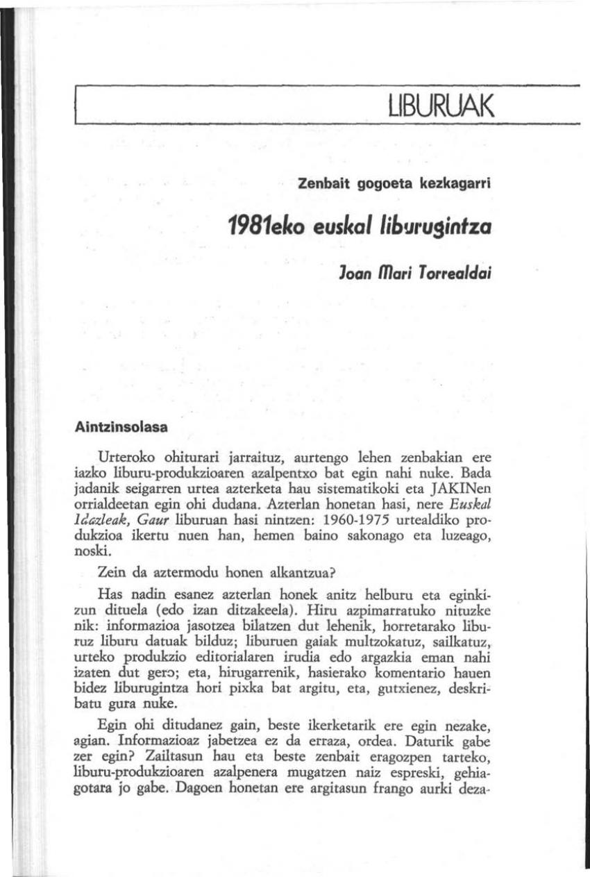 1981eko euskal liburugintza