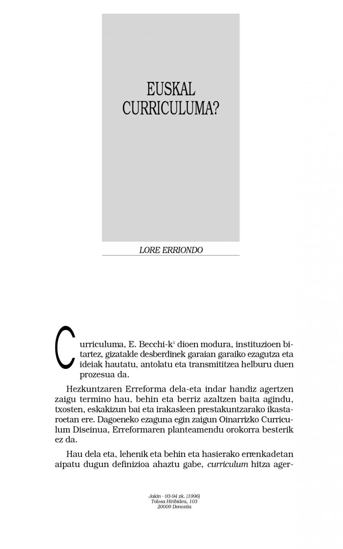 Euskal curriculuma?