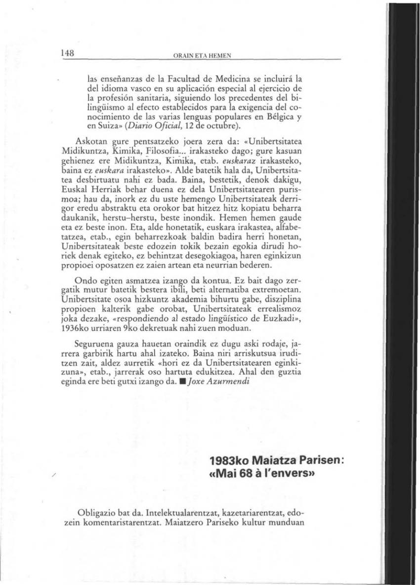 1983ko Maiatza Parisen: «Mai 68 à l'envers» (Orain eta Hemen)