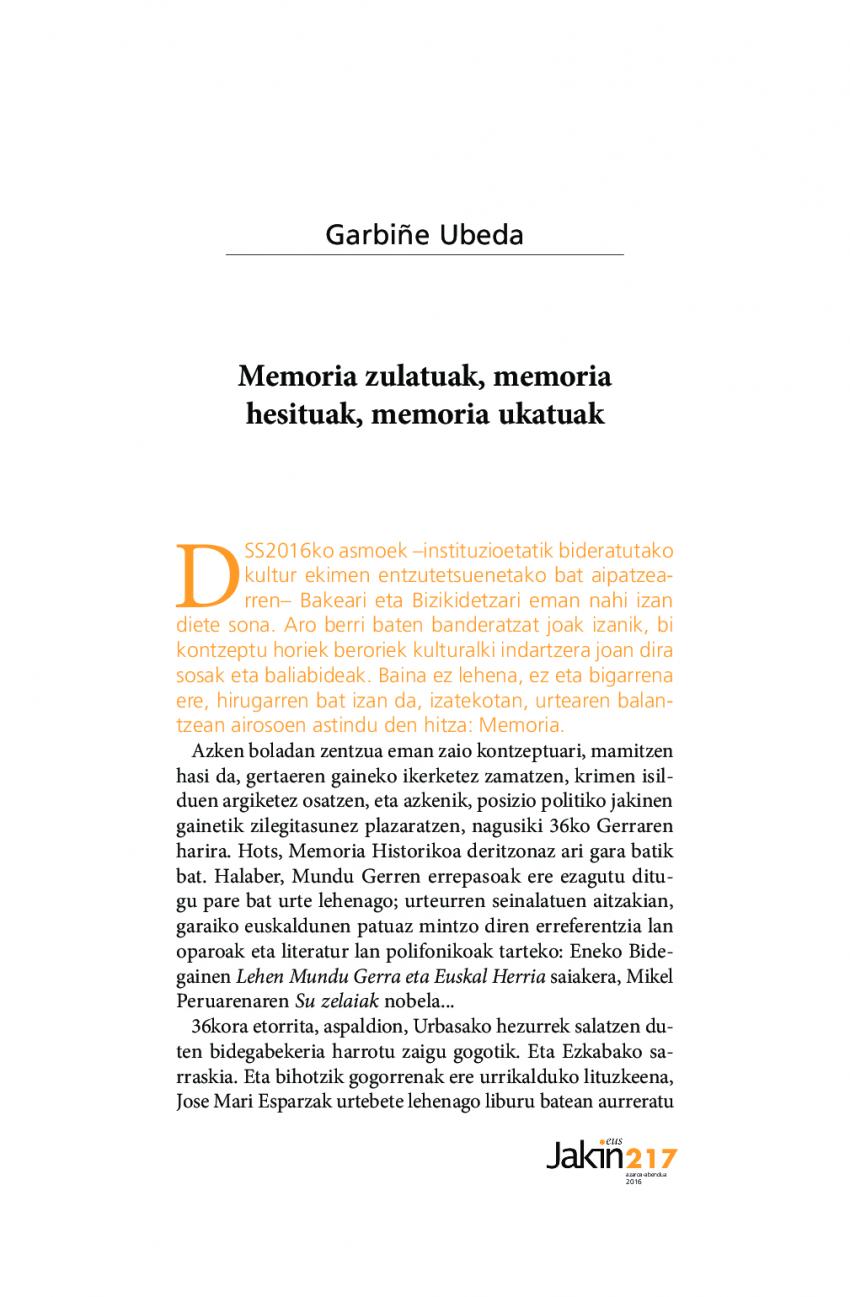 Memoria zulatuak, memoria hesituak, memoria ukatuak