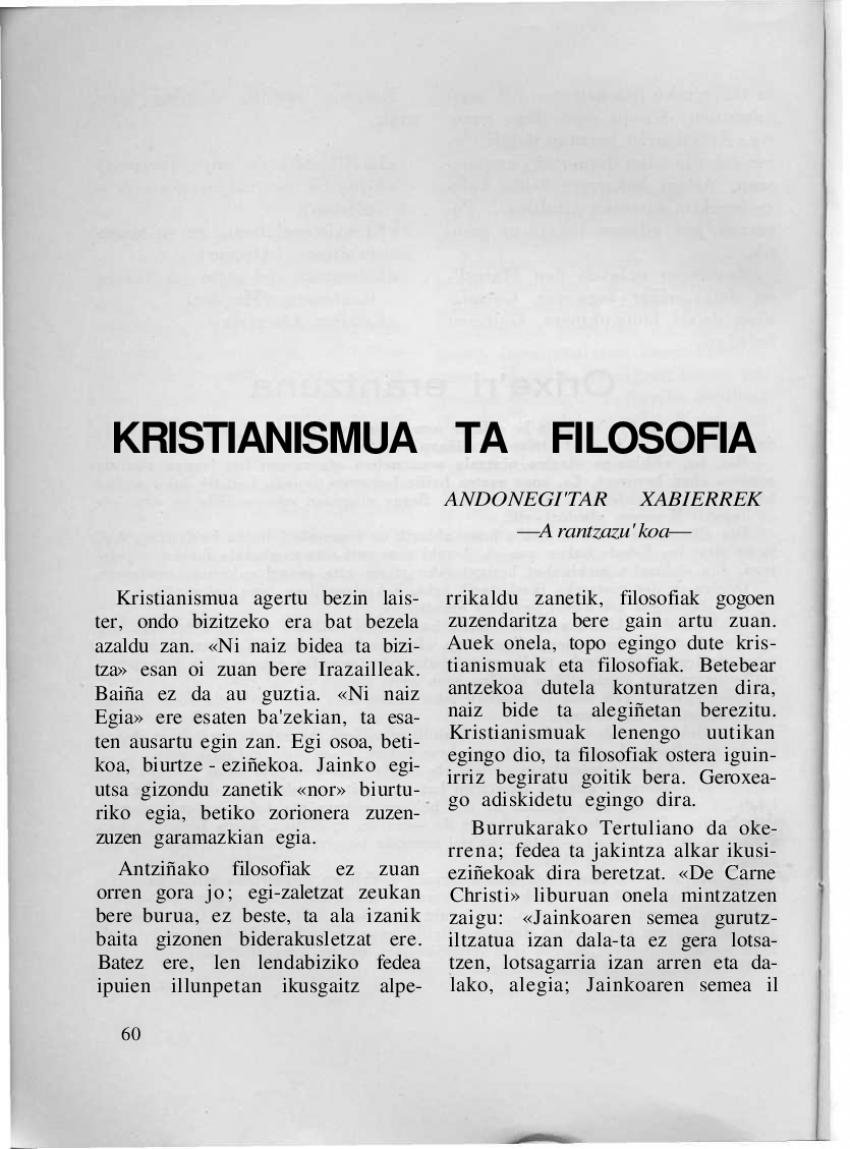 Kristianismua ta filosofia