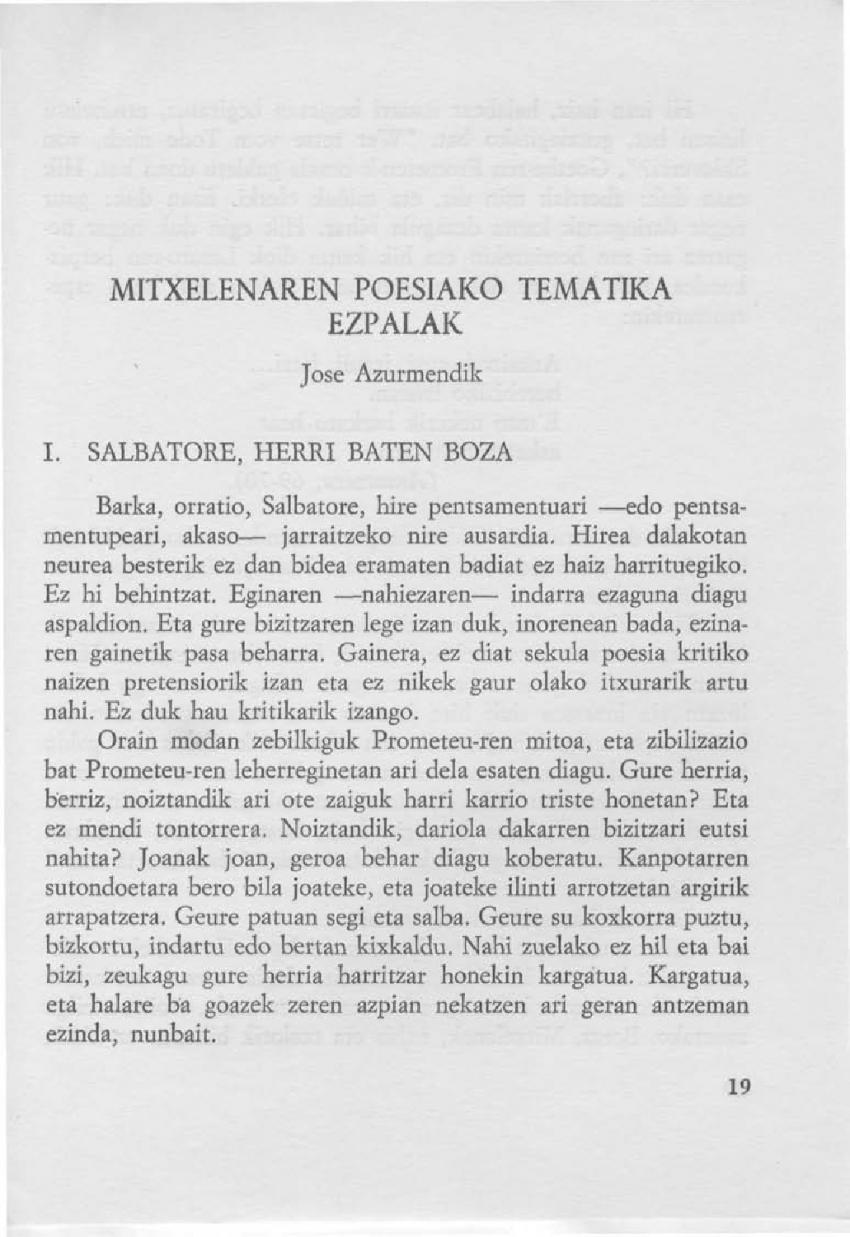 Mitxelenaren poesiako tematika ezpalak