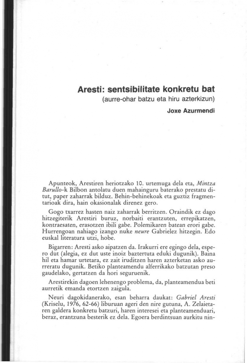 Aresti: sentsibilitate konkretu bat