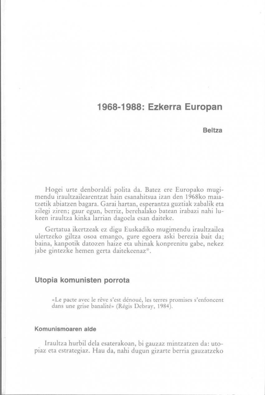 1968-1988: Ezkerra Europan
