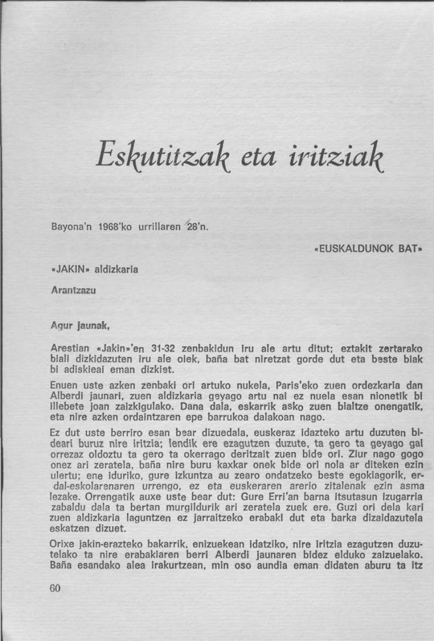 Eskutitza zuzendaritzari. «Euskaldunok bat»